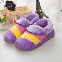 S130037 winter household cotton shoes waterproof purple women slippers
