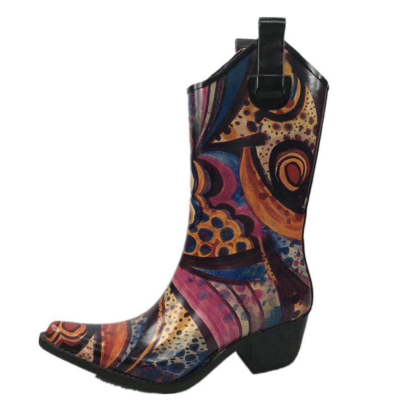 Factory Good Quality  Print Ladies  Cowboy Boot Women's Rubber Rain Wellionton Boot