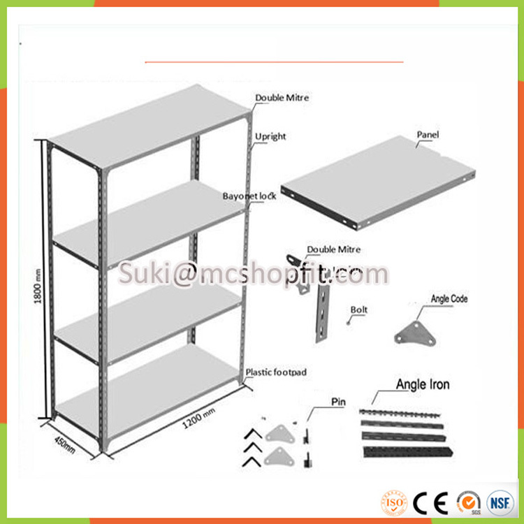 Striking Metal Shelving Design To Increase Your Storage Space: Multi-purpose Angle Steel Shelves,Slotted Angle Rack