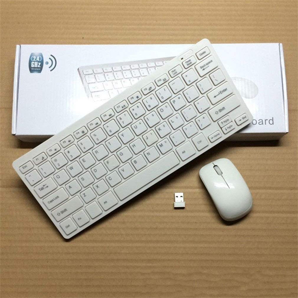 Wireless Keyboard and Mouse Combo, Wireless Keyboard Mouse 2.4GHz Ultra Slim Mini Wireless Keyboard and Mouse Combo for Laptop, Notebook, PC, Desktop, Computer (White)