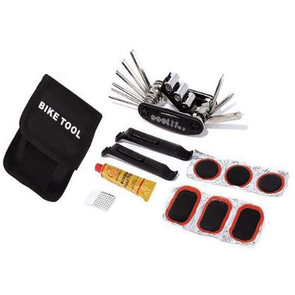16 in 1 Multi Function Bike Tool with Patch Kit & Tire Levers, Bike Repair Tool Kits, Bicycle Fix Tools Set Bag