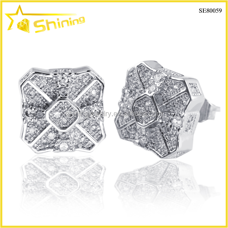 fashion party micro pave cubic zircon 925 silver stud earrings in bulk