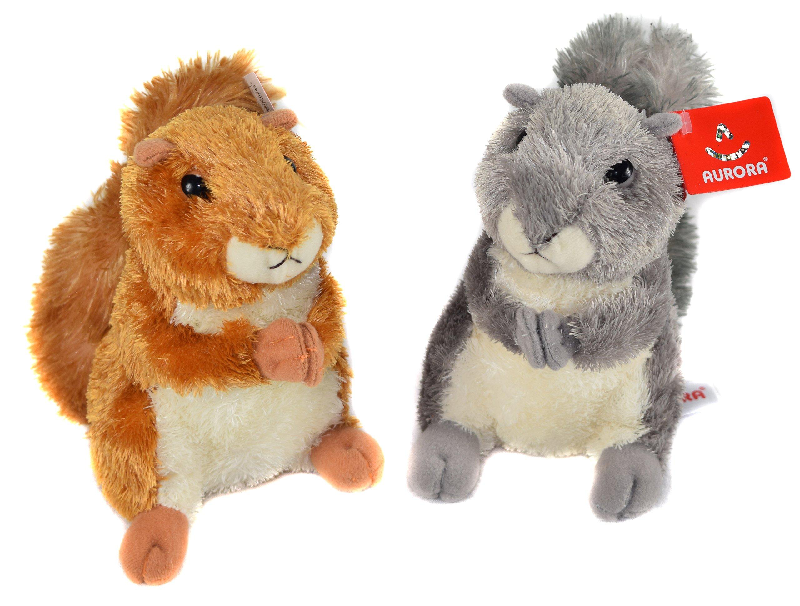 30531 Nutsie Mini Flopsie, 30532 Nutty Mini Flopsie, Bundle of Two Cute Adorable Squirrels Plush Toys, Soft and Fluffy Stuffed Animals Small, By Aurora World
