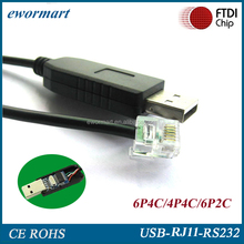 customize 6ft ftdi USB to RS232 serial rj11 to not db9 cable rj11 coaxial cable rj11 shielded for Win8, Win10, Android, Mac,