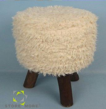 Store More Handcrafted Faux Fur Foot Stool