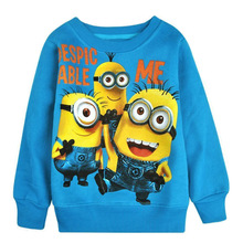 2014 New 1pcs baby boys girl Cartoon design round minion collar fleece children wear t-shirts Children's clothes