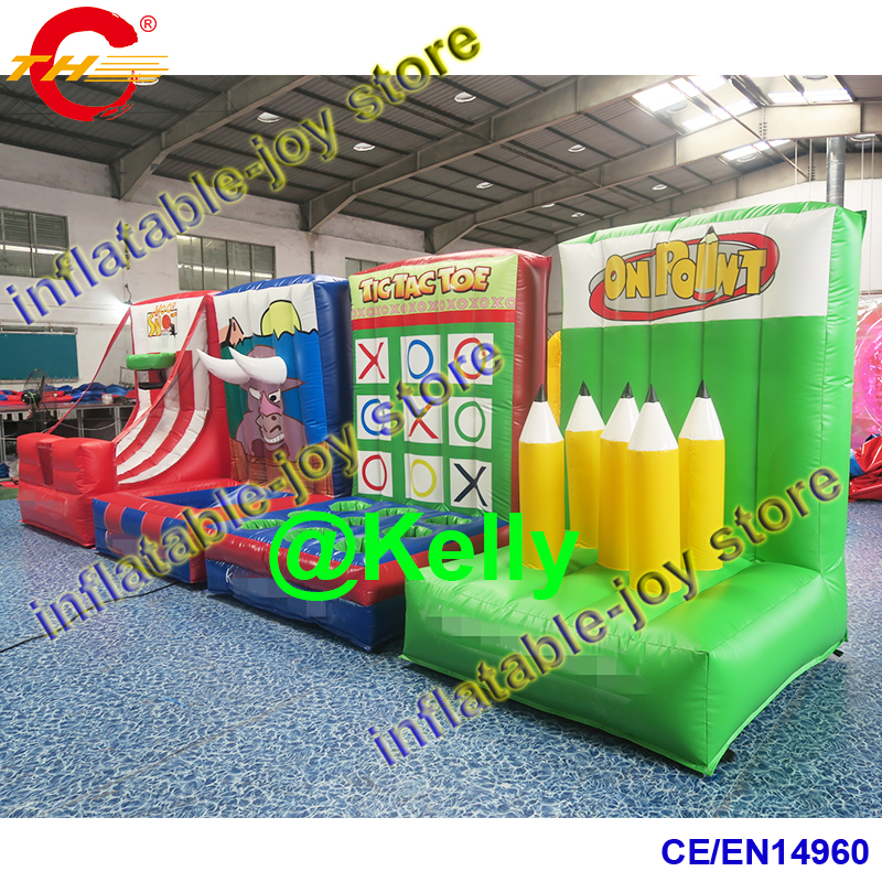 free shipping small inflatable carnival game combo, 4 in 1 inflatable sport games