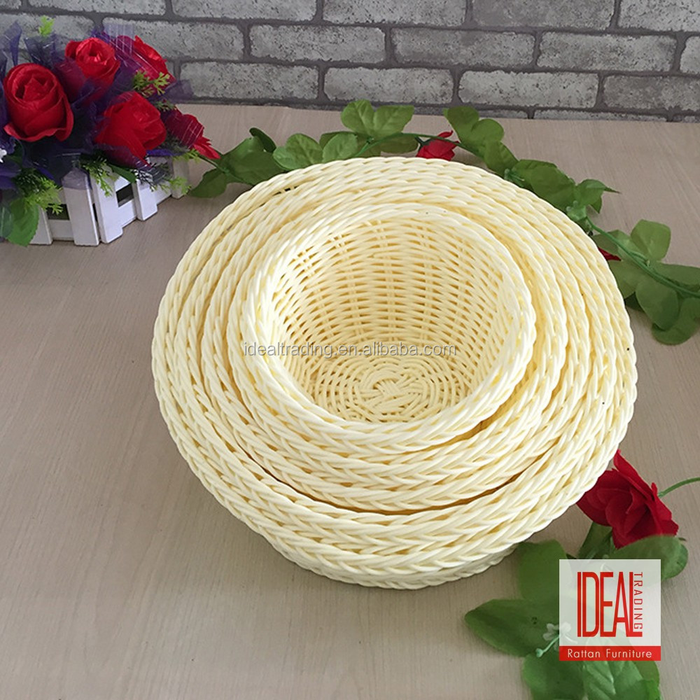 Cheap cute food dispaly used small plastic weave basket/rattan wicker bread baskets/Plastic Bread Baskets
