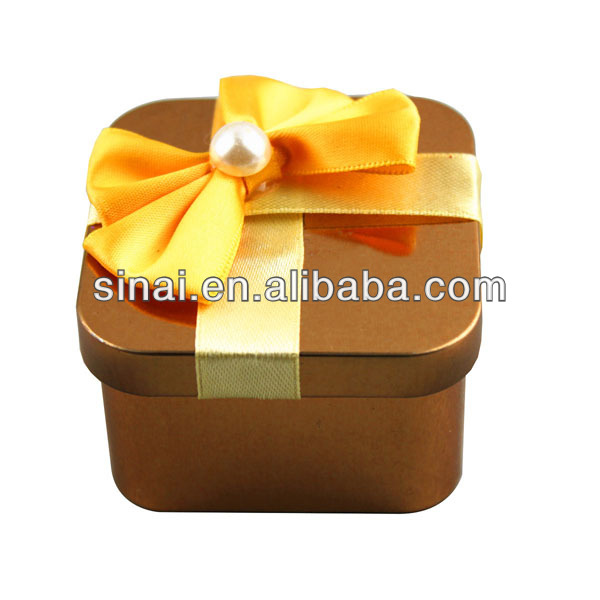 Wedding Favors/Square Gift Boxes with Artifical Flower, Tin Box