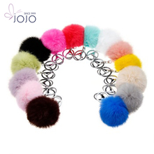 Fashion design factory wholesale fox fur pompoms keychain lovely fur ball keychain with fur pompoms keychain