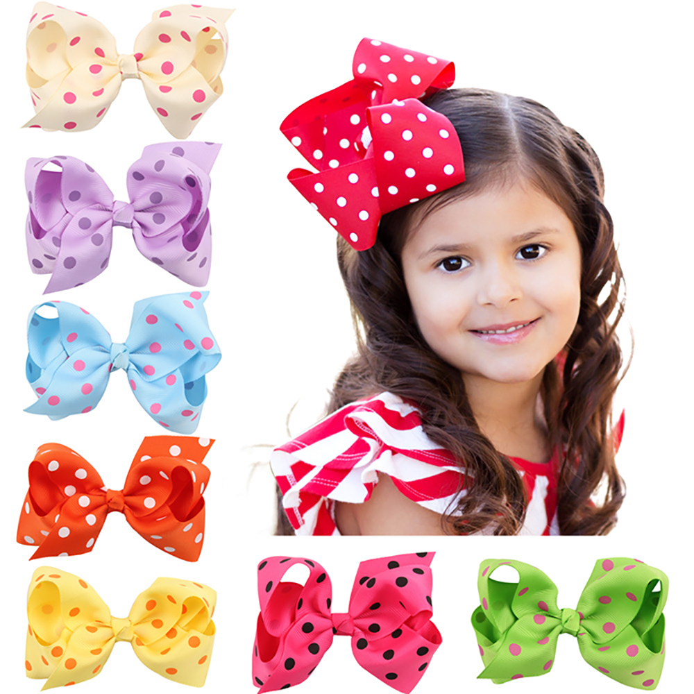2018 Hot Sales Bowknot Lovely Girls Hair Clips High Quality Round Dot Decorated Hair Accessories Big Bowknot 11*6.5CM Hair Clip