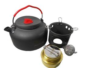 Ubens Alocs Outdoor Kettle Camping Cookware Water Pot 1.4l Litre Kettle Alcohol Stove and Bracket 420g