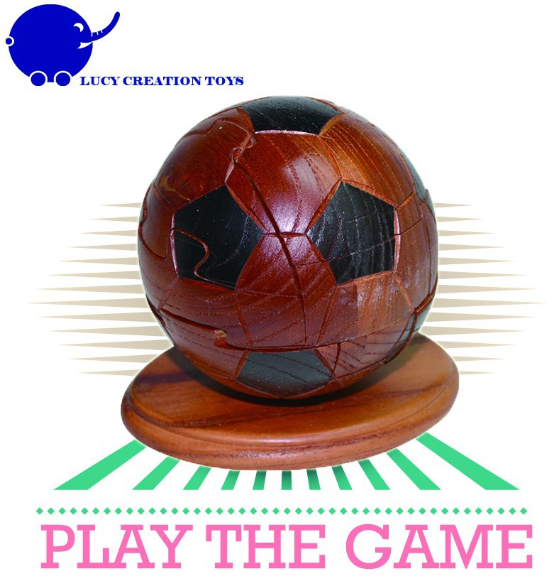 Promotional Classic Jigsaw 3D Soccer Ball Wooden Brain Teaser Puzzles with a Stand