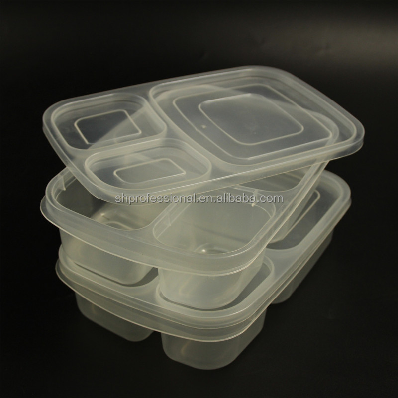 Hot Item 3 Compartment Lunch Box Food Bins Factory Manufacture / Durable Microwave Resuable