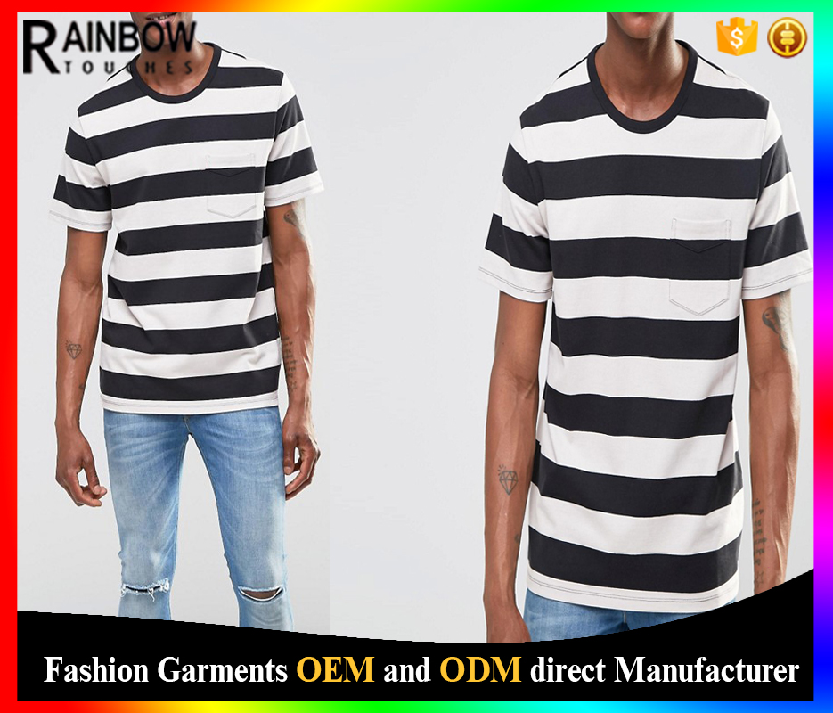 China Export Men Clothes Stripe T Shirt With Pocket