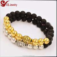 Antique Natural Stone Buddha Beads Silver Gold Plated Buddha Head Stretch Bracelet Price for Men