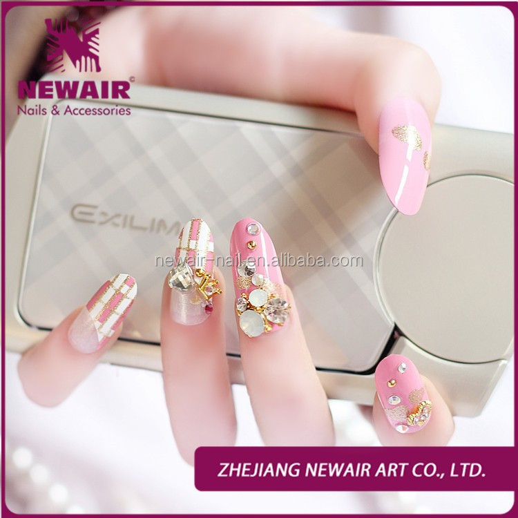 2015 High-quality Elegant Diamond 3d Fake Nail Tips Artificial ...