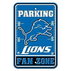 """Detroit Lions NFL """"Fan Zone"""" Parking Sign 12"""" x 18"""""""