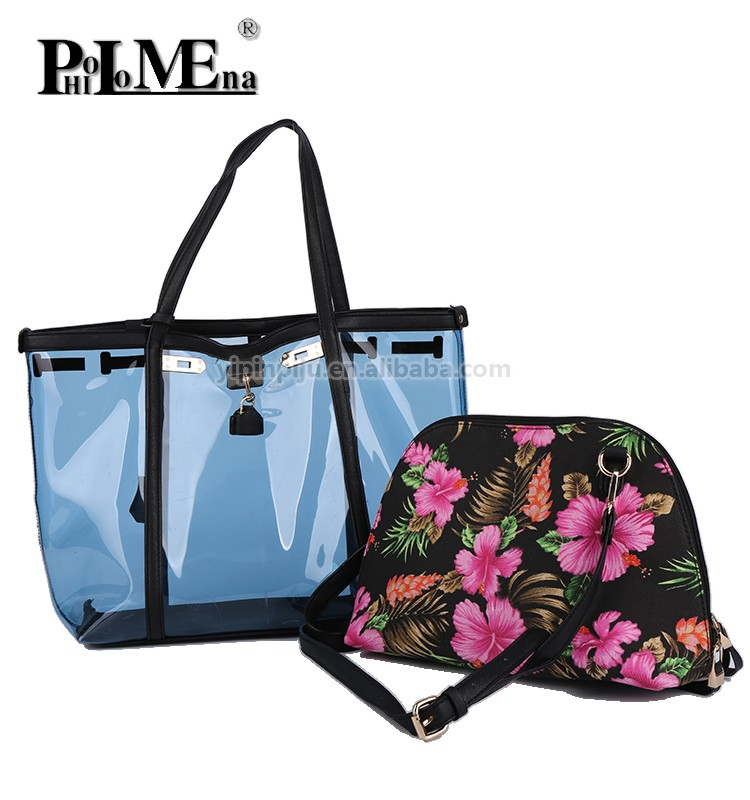 PVC 2IN1 ladies handbag with locked transparency high quality bags handbag for women shopping vintage flower bags