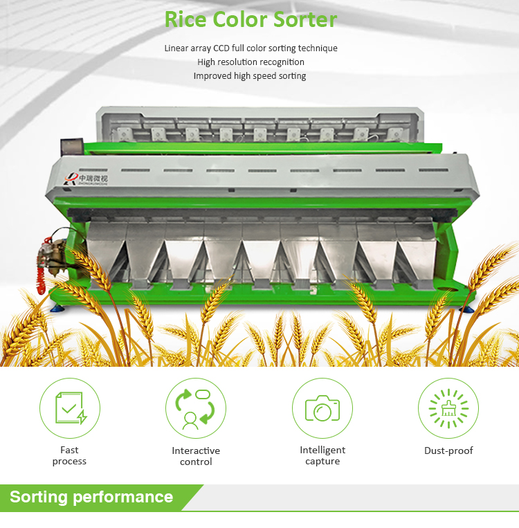 High resolution 5388 pixels intelligent CCD camera rice color sorter machine in china