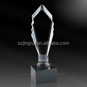 Black crystal base clear blank k9 award leaf shape crystal