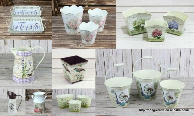 New collection!!!Shabby chic /vintage metal flower bucket with linen handle