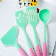 Non stick cookware eco friendly pink and green silicone spatula set of 4 slotted silicone spatula turner spoon