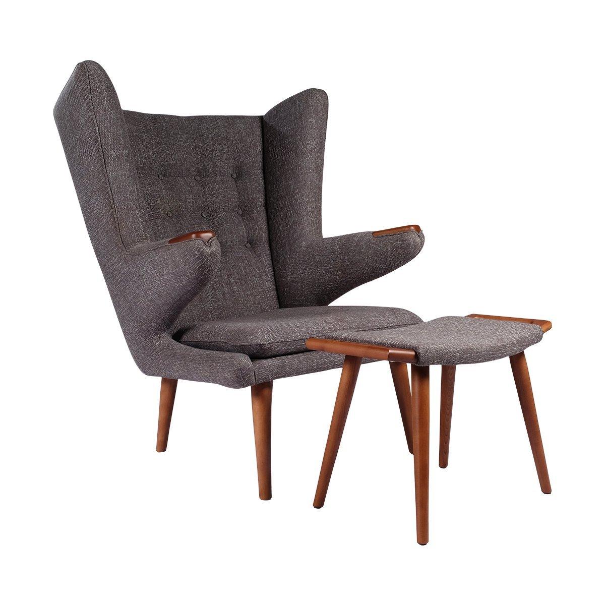 Exceptional Papa Bear Chair W/ Ottoman, Charcoal Grey Wegner Replica