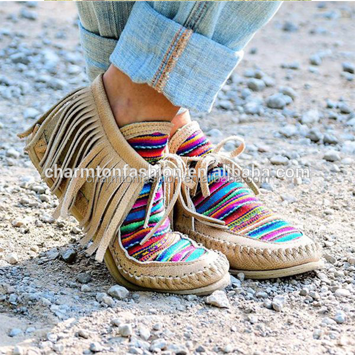 New Arrival Ladies Personalized Lace-up Tassel Rainbow Loafer Moccasin Boots