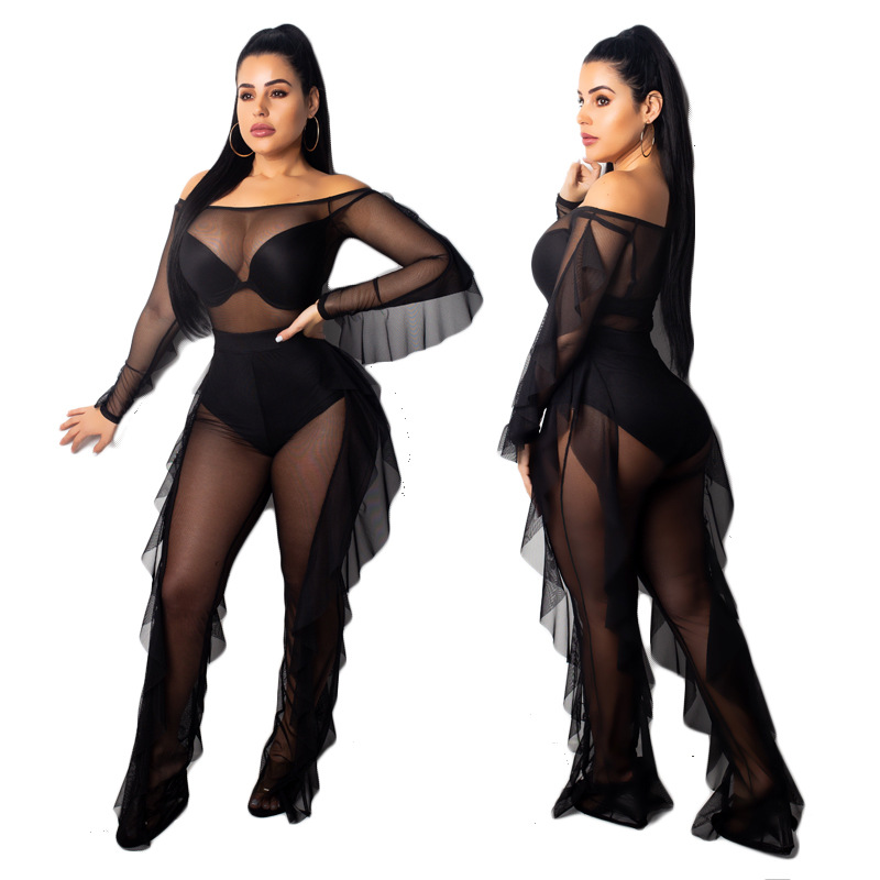 Fashion casual suit female ruffled sexy polyester mesh two piece women clothing set