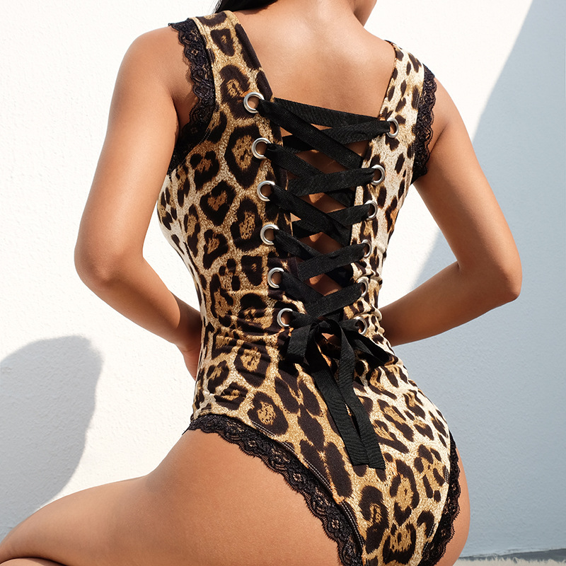 Lage MOQ Vrouwen Sexy Luipaard Bodysuit Backless Bandage Spandex Bodysuit Tops
