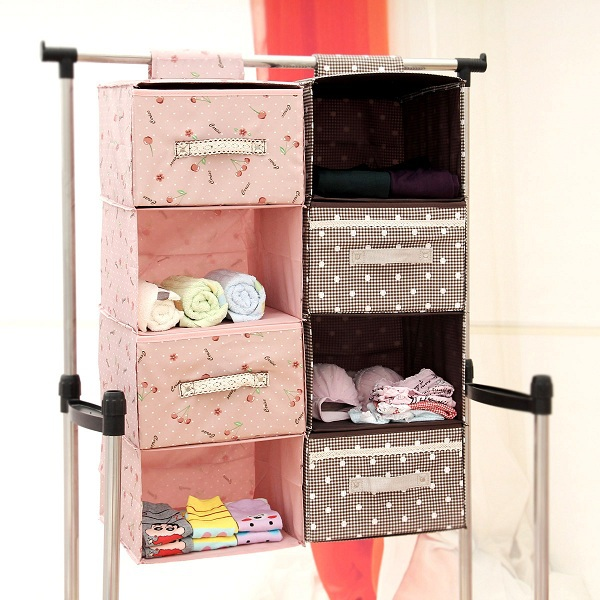 PN Hot Sales Household Hanging Storage Box 6 Shelf Non Woven Fabric Hanging  Sock Organizer