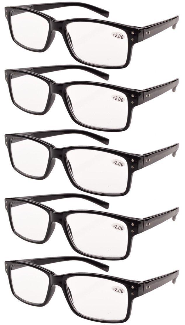 270df45ab500 Get Quotations · Eyekepper 5-pack Spring Hinges Vintage Reading Glasses Men Readers  Black +1.5
