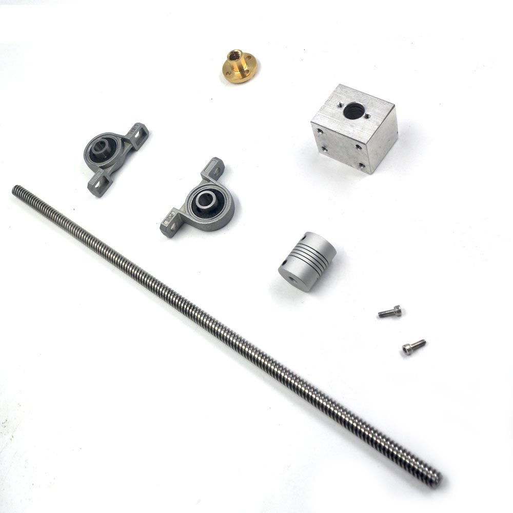 T8 Lead Screw Kit, Mergorun 200mm Length 8mm Dia Silver Vertical 8mm Lead Screw Rod & Pillow Block Mounted Bearing KP08 Flexible Shaft Coupling With Nut housing for 3D Printer Set of 6