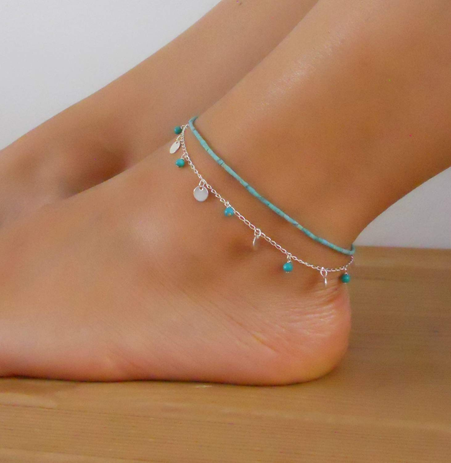 Handmade Designer Multistandard Double Layered Set Of 2 Anklets Turquoise Beads Anklet And Silver Coin Anklet