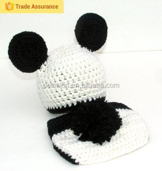 Baby Crochet Panda Hat Diaper Cover Set With Tail For Photo Prop