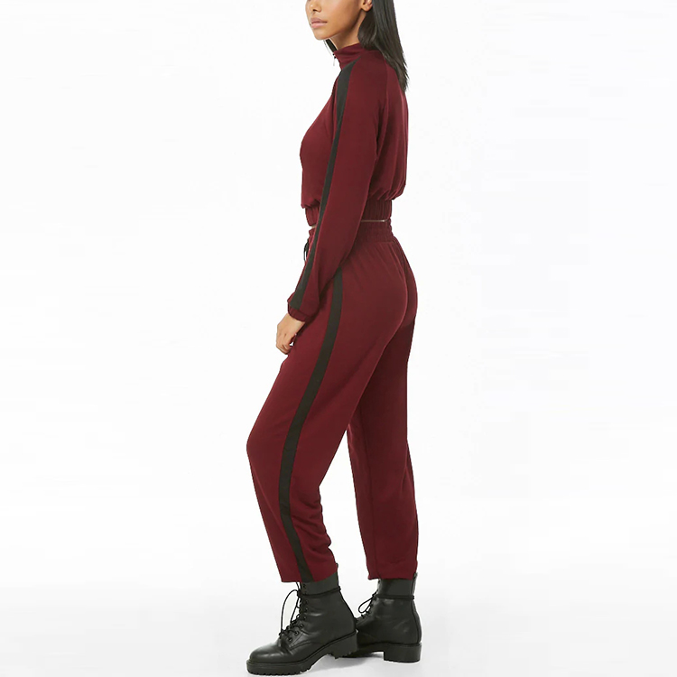 New Fashion Contrast Side Stripes Crop Tops and Joggers Tracksuits Two Piece Set Women Clothing