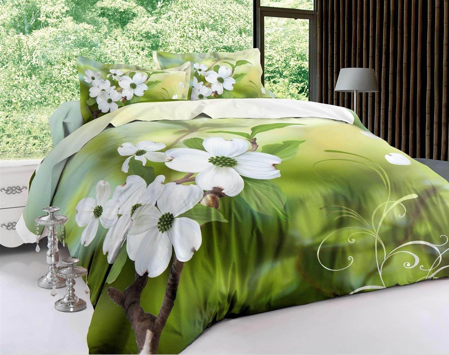 Longji Home Jasmine Flower bedding Sets,3D Oil Painting Bed In A Bag Twin queen king size (Size : Queen(3Pcs/Set))