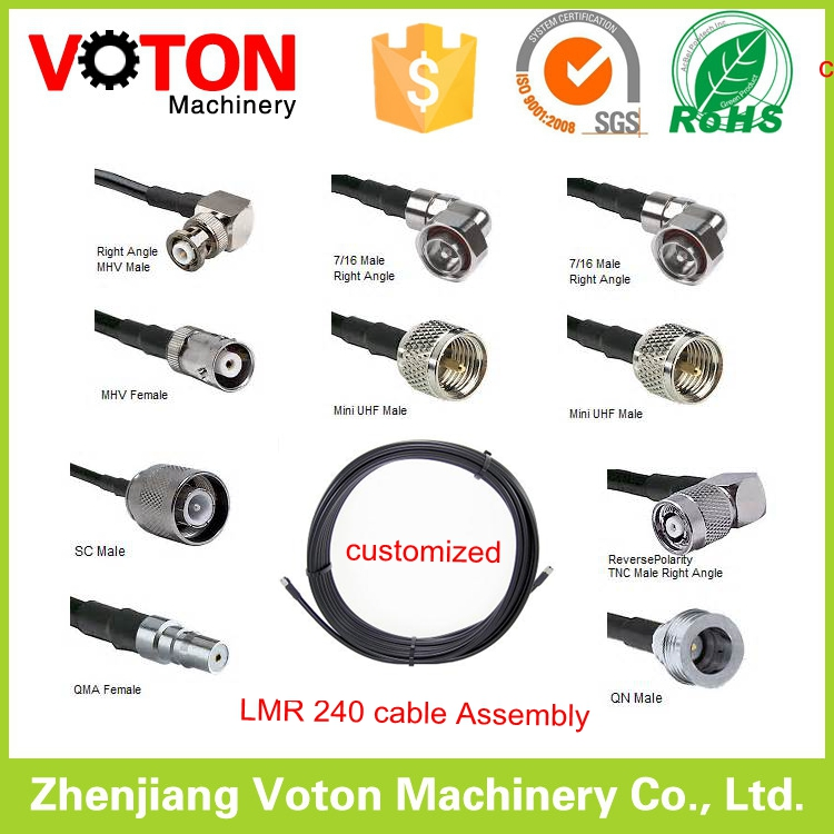 Customized Extention LMR 240 cable with various rf connectors LMR240 Cable assembly