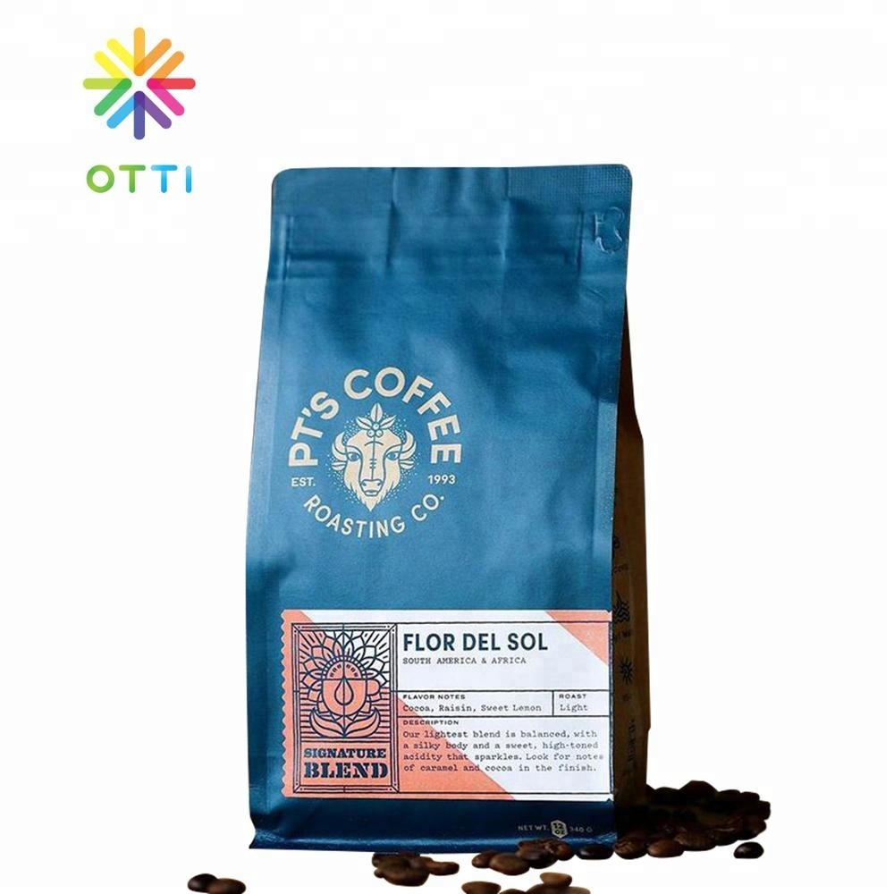 Square bottom flat bottom coffee bag wholesale 500g /250g kraft paper coffee bean bag with valve