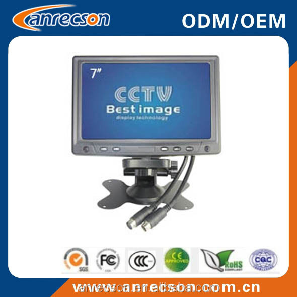 security cctv monitor 7 inch professional color LCD screen audio video display with VGA and BNC RCA input