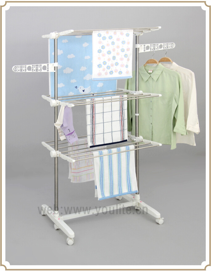 Three Layer Telescopic Stainless Steel Clothes Drying Rack Stand