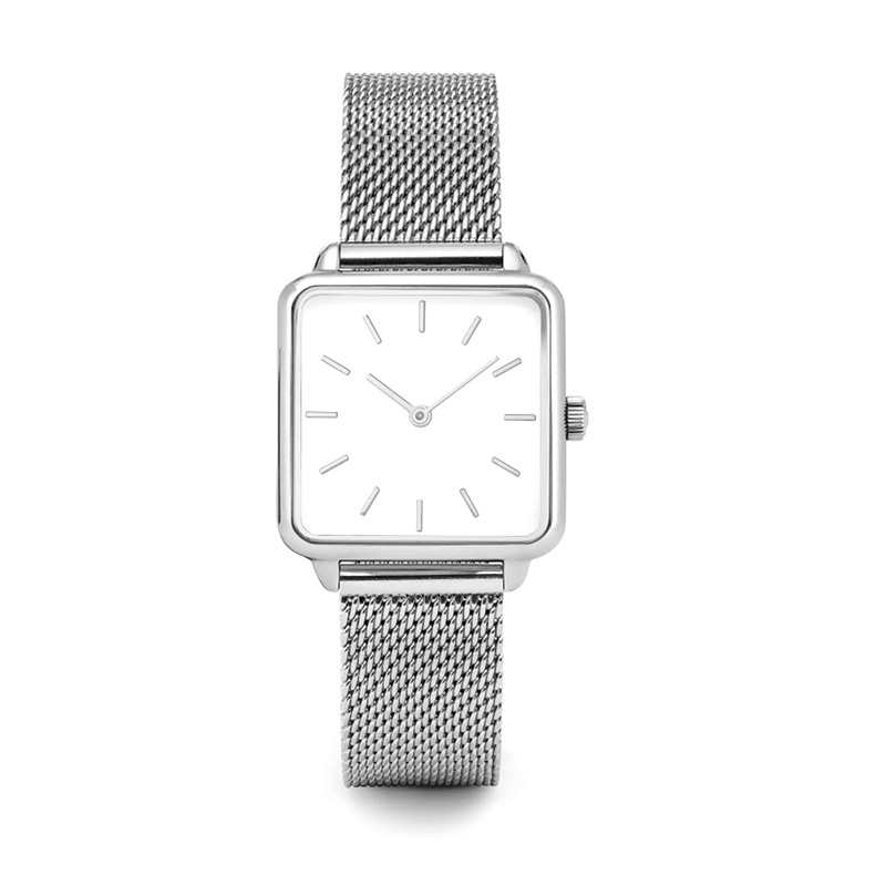 Factory direct thin steel band waterproof Japanese quartz movement fashion square watches women