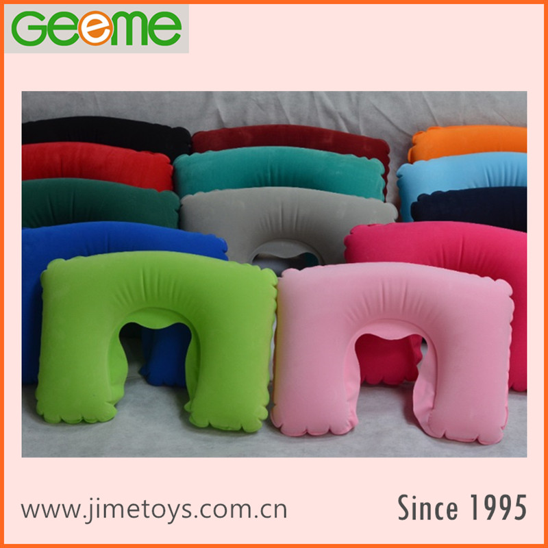 Promotional Inflatable Flocked Travel Neck Pillow