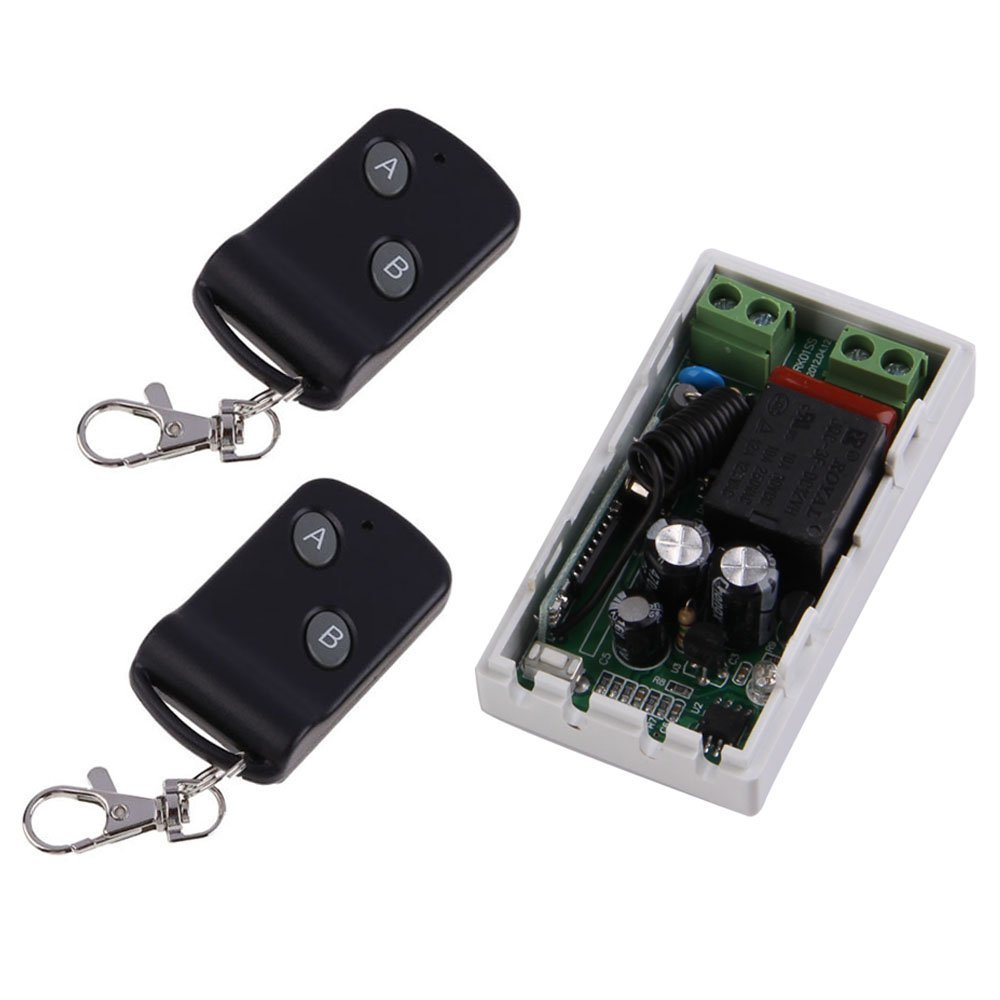 ERTIANANG 315MHz Wireless AC220V 1CH 2 Buttons Transmitter Receiver 2 Remote Control Switch Module Controllers RF Transceiver