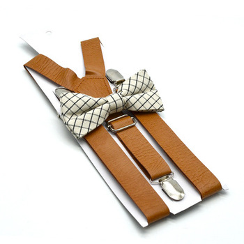 3 Clips 3.5CM Width PU Leather Adjustable Suit Suspenders With Bow Tie