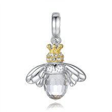 925 Sterling Silver Base Gold Plated Bee Charm for European Bracelet