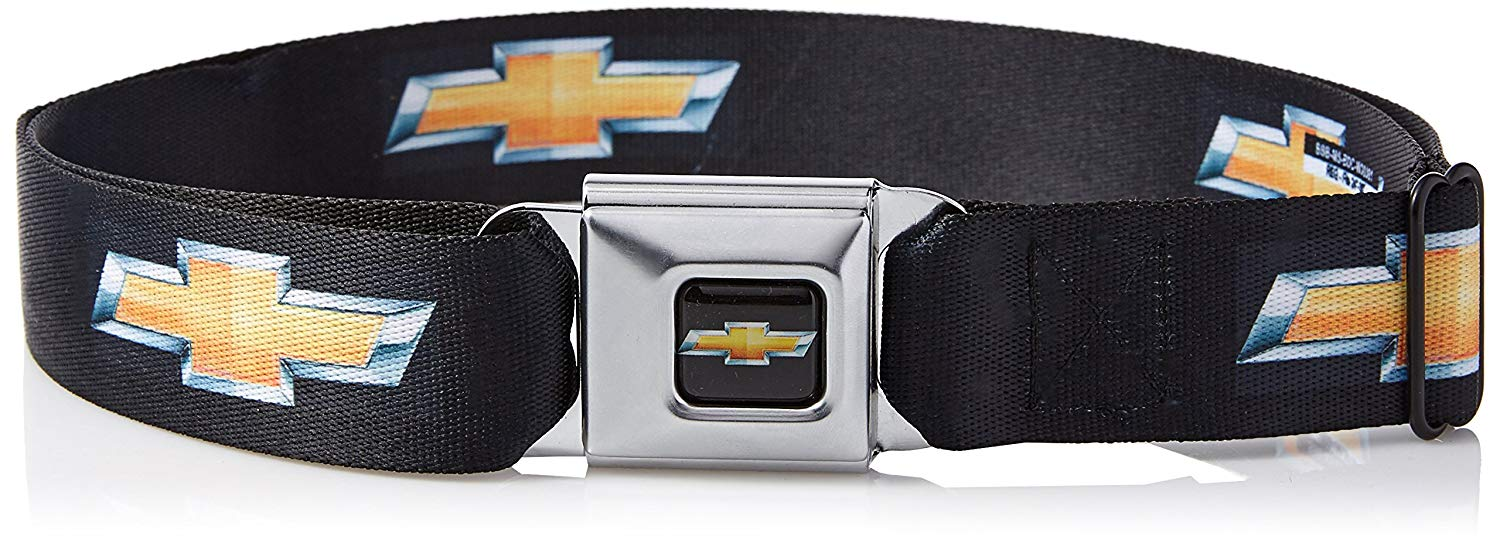 Get Quotations Buckle Down Seatbelt Belt Chevy Bowtie Black Gold Logo Repeat 1 5