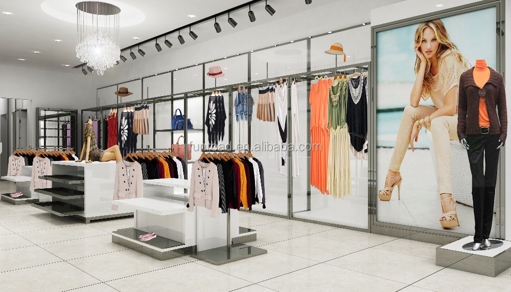 Fashion clothes store decoration for lady clothes shopping