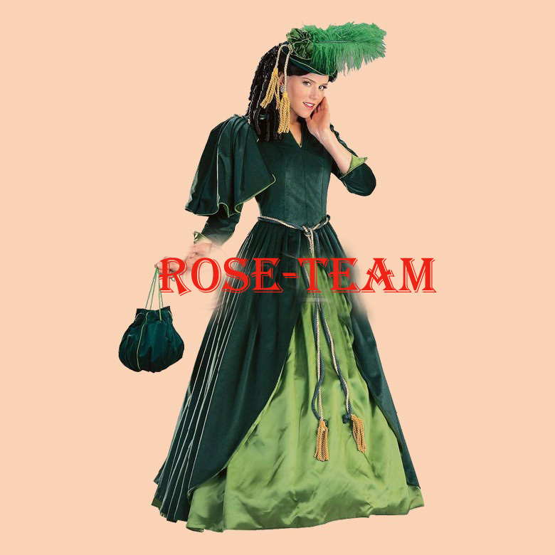 Rose Team-Free Shipping Custom Made Traditional Dark Green Dress Sexy Carnival Halloween Costume Include The Headwear
